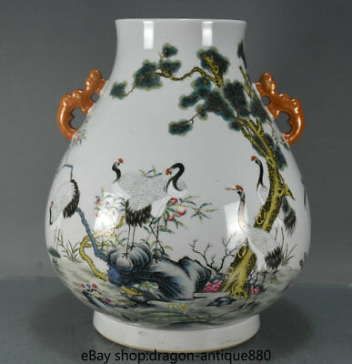 "12.8"" Marked Old China Wucai Porcelain Palace Crane Peach Pine 2 Ear Bottle Jar"