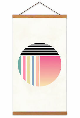 Minimalist Abstract Pastel Circle Canvas Wall Art Print Poster with Hanger 24x12