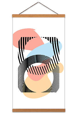 Abstract Minimalist Shape Canvas Wall Art Print Poster with Hanger 24x12 Inch