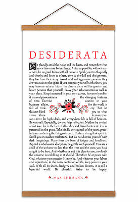 Ehrmann Desiderata Prose Quote Canvas Wall Art Print Poster with Hanger 24x12