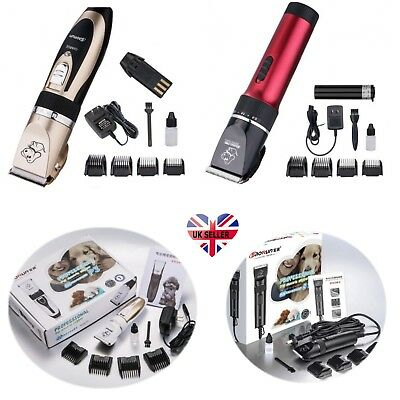 Pet Dogs Cats Electric Clippers Set Grooming Trimming Kits Low Noise Cordless UK