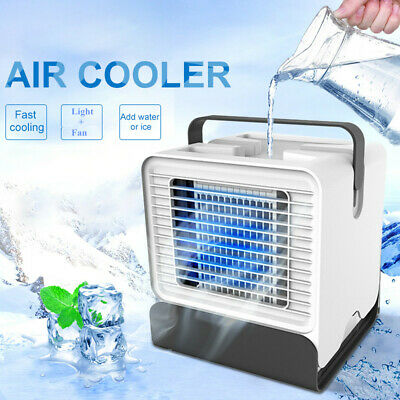 Mini Portable Cooler USB Fan Air Conditioner Office Home Humidifier w/ LED Light