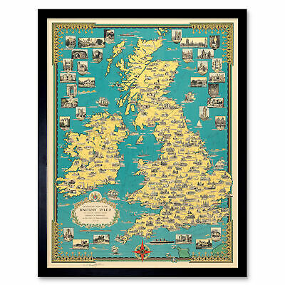 Chase 1939 Pictorial Map British Isles Buildings Framed Wall Art Poster