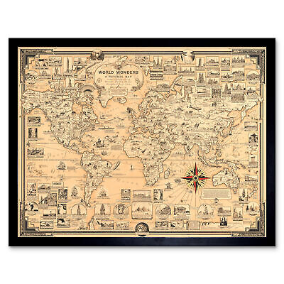 Chase 1939 Pictorial Map Chart Wonders World Framed Wall Art Poster