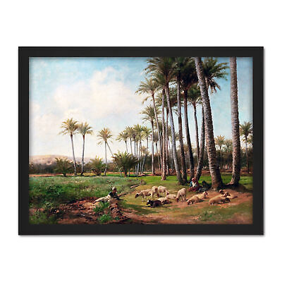 Bates Oasis Desert Sheep Lamb Palm Trees Painting Large Framed Art Print