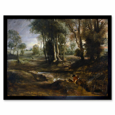 Rubens Evening Landscape With Timber Wagon Art Print Framed 12x16