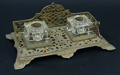 Encrier ancien bronze cristal decor oriental french inkwell