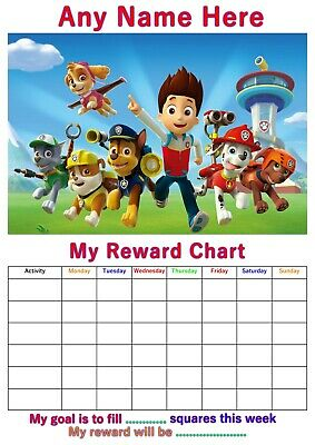 Personalised Childrens A4 Reward Behaviour Chart Patrol And Stickers !