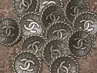 Chanel 13  Antique Silver Metal Buttons 14 Mm/ Over 1/2''   New Lot 13 Cc Logo