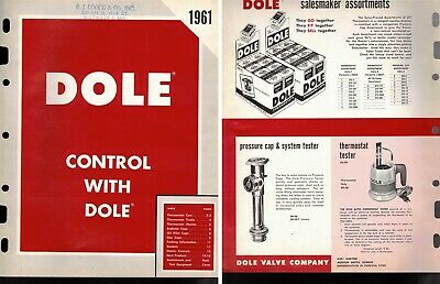 """Vintage AD 1961 """"DOLE Oil & Radiator CAPS + Thermostats"""" Jobbers SHEET (16 pgs)"""