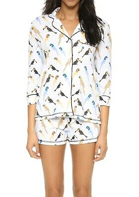 PJ Salvage White Bird 2-Piece Top & Shorts Pajama Set Women's Small