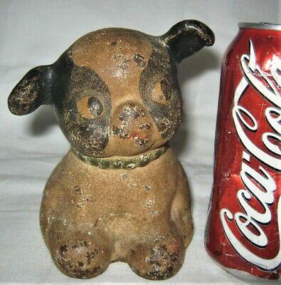 Antique Usa Hubley Toy Co Solid 5 Lb. Weight Cast Iron Fido Dog Statue Doorstop