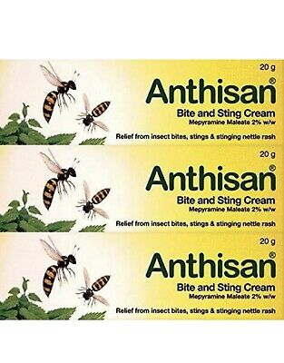 3 x Anthisan Bite & Sting Cream | 3 x 20g Relief Irritation Inflammation | 3 Box
