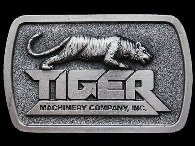 JK25167 VINTAGE 1970s **TIGER MACHINERY COMPANY** PEWTER BELT BUCKLE