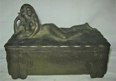 Art Nouveau Antique Jennings Brothers Art Nouveau Large Oval Jewelry Casket Water Lily Nr Periods & Styles