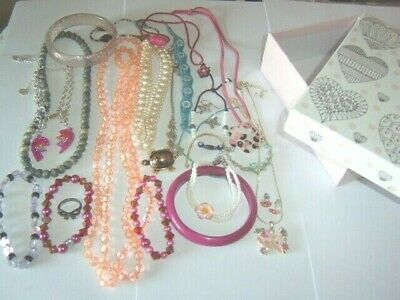 Girl Child Childrens Job Lot Bundle Mixed Assorted Costume Jewellery & Pink Box