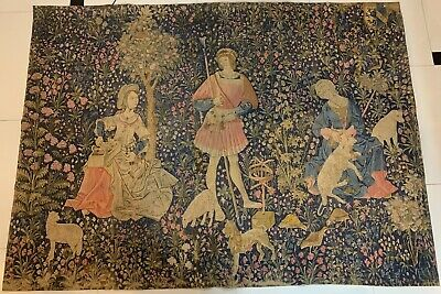 Huge Antique Decorative Medieval Style French Print Tapestry 153 X 193 Cm
