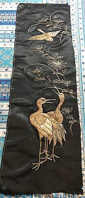 """ANTIQUE CHINESE 19th QING DYNASTY EMBROIDERED SILK PANEL WALL HANGING 16"""" X 52"""""""