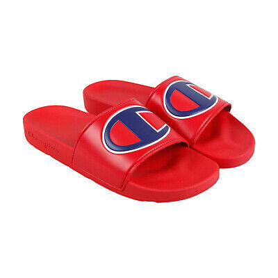 9d6ade0cd3d Champion Ipo Mens Red Synthetic Slides Slip On Sandals Shoes