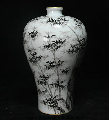 """12"""" Marked Old Chinese Grisaille Porcelain Palace Hand Drawing Bamboo Bottle"""