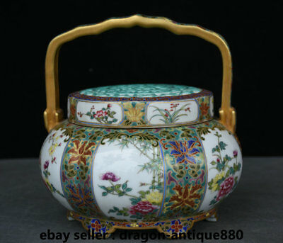 """8"""" Marked Chinese Palace Enamel Color Old Gold Porcelain Flower Portable Box"""
