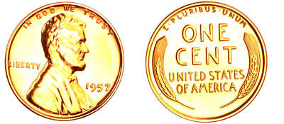 1957 GEM BU PROOF WHEAT CENT Lincoln BRILLIANT UNCIRCULATED PENNY US COIN PF