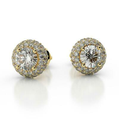 Special Gift 2.50 Ct H Vs1 Round Cut Diamond Halo Stud Earrings 14K Yellow Gold
