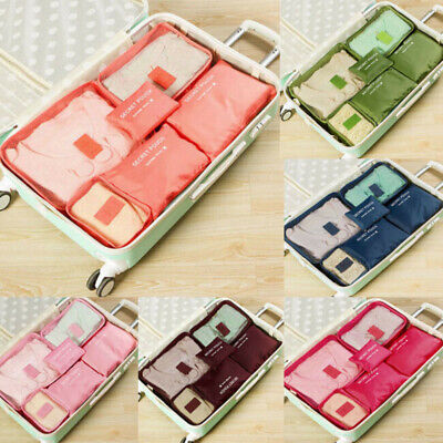 Luggage Organiser Waterproof Storage Bags Pouch Packing Travel Cubes 6pcs Set