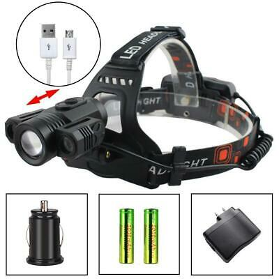 Zoomable X- T6 3X LED 35000LM Headlamp 4 Modes Torch +18650 Battery DA