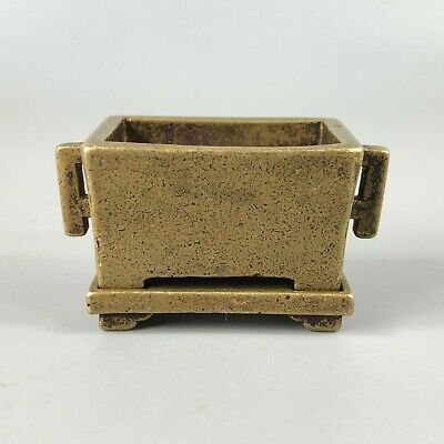 Old Collectible Chinese Brass Handwork Antique 4 Legs Square Tripod Set Statue