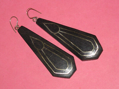Wood Earrings ~ Inlaid Tear Drop Sterling ~ Hand Made ~ Shepherds Crook Tops