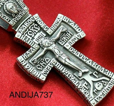 Big Mens Russian Orthodox Guardian Angel Icon Cross Pendant, Silver 925 New