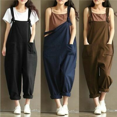 Womens Plus Size Overall Dungarees Jumpsuit Casual Loose Linen Playsuit Trousers
