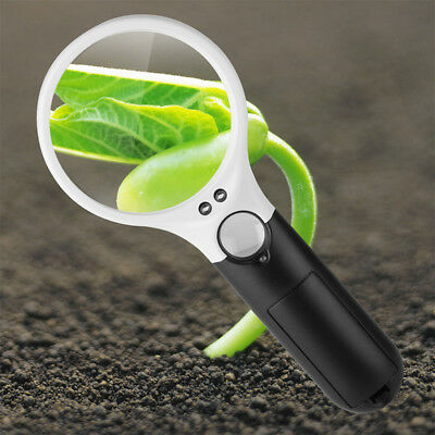 45X Magnifier Magnifying Reading Glass Jewelry Loupe With Handheld 3 LED Light