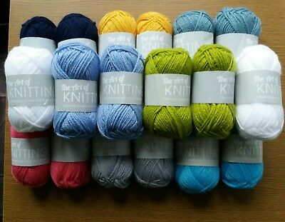 18x25g Balls The Art of Knitting Wool/Yarn(Assorted-Your Choice Colours-Same)New