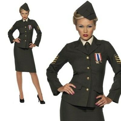 Wartime 1940'S WW2 Army Officer Uniform Womens Fancy Dress Costume S-XL