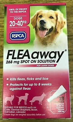 RSPCA Flea Away Spot on Treatment for LARGE Dogs. SALE!! £2.49 for 3 Pipettes!