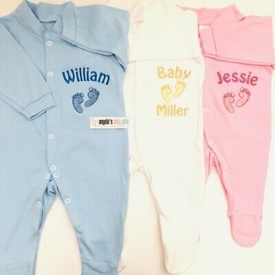 Personalised Name Feet Baby Grow Gift Newborn Christening Girl Boy