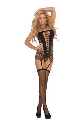 Elegant Moments Lingerie Black 3 Piece Camisette G String & Stockings One Size