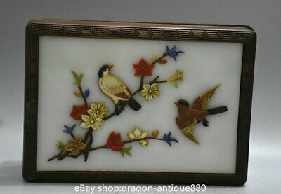 """8"""" Chinese Huali Pear Wood inlay Shell Carving Flower Bird storage Jewelry box"""