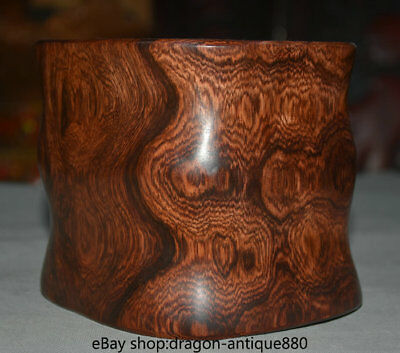 """6.2"""" Old Chinese Huanghuali Wood Carving Palace Ghost Eyes Pencil Vase"""