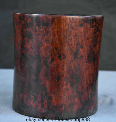 "6.4"" Old Chinese Redwood Carving Dynasty Palace Brush Pot Pencil Vase Pair"