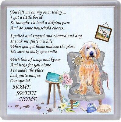 """Labradoodle Dog Coaster """"HOME SWEET HOME Poem .."""" Novelty Gift by Starprint"""