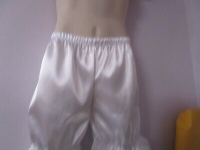 Men's White Satin w/Emb Flowers Bloomers Knickers Pantaloon Lingerie Sissy Man