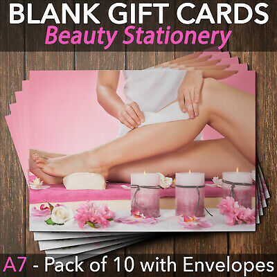 Gift Voucher Card Beauty Salon Waxing Hair Removal Therapist x10 + Envelopes