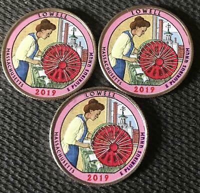 2019 P-D-S Colorized Lowell (Massachusetts) Atb 3 Coin Quarter Set