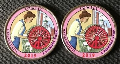 2019 P-D  Colorized Lowell (Massachusetts) 2 Coin Quarter Set