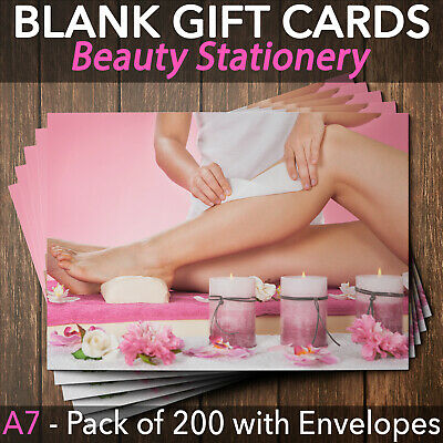 Gift Voucher Card Beauty Salon Waxing Hair Removal Therapist x200 + Envelopes
