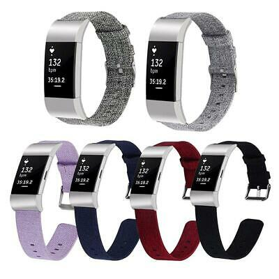 For Fitbit Charge 2 Band Nylon Canvas Woven Fabric Replacement Wristband Strap