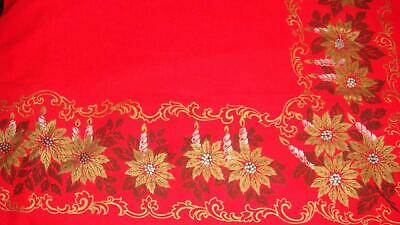 """Vintage Red Gold Poinsettia & Silver Candles Fabric Tablecloth 55"""" X 84"""" Oblong"""